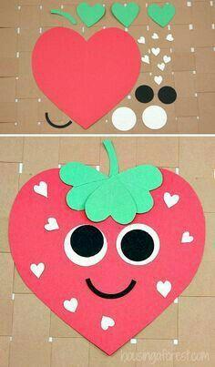 Heart Strawberry Craft ~ Valentines Craft for Kids crafts Woodland Wedding Ideas Trend 2019 Valentine's Day Crafts For Kids, Valentine Crafts For Kids, Daycare Crafts, Summer Crafts, Projects For Kids, Holiday Crafts, Fun Crafts, Craft Projects, Children Crafts