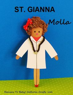 Gianna Molla was a doctor who gave up her own life to spare the life of her unborn baby. Make her figure out of a plastic spoon. Glue on her lab coat and add a stethoscope. A very fast craft to make. HEAVENS TO BETSY! Catholic Saints For Kids, Catholic Crafts, All Saints Day, New Saints, Heavens To Betsy, Plastic Spoons, Community Helpers, Crafts For Kids To Make, Stethoscope