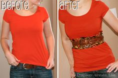 How to Lengthen a Shirt that's too Short By Discover. Create. Live.  Makes a wonderful T-Shirt upcycle / redo regardless if it's too short or not, would bring color to a plain tee or if you want to get rid of a bad stain this would be perfect (instead of having to throw that favorite tee away).