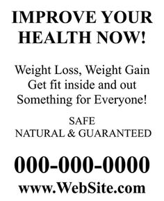 Full Page Size Flyer - 8� x 11 inches.<br>Paper Flyer<br> Improve Your Health Now.