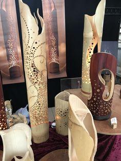 Bamboo Lamps, Bamboo Art, Bamboo Crafts, Pallet Crafts, Wood Crafts, Homemade Lamps, Bamboo Planter, Decorative Screens, Gourd Art
