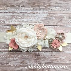 Rustic Wedding Sash Floral Sash Lace Sash by candybuttonusa Wedding Sash, Bridal Sash, Rustic Wedding, Boho Wedding, Baby Shower Sash, Girl Shower, Flower Girl Headbands, Baby Headbands, Maternity Belt
