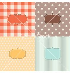 Set of four patterned backgrounds with frames vector by incomible on VectorStock®