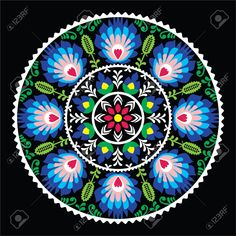 Popular Folk Embroidery Polish traditional folk art pattern in circle - Wzory Lowickie on black Stock Vector - - Millions of Creative Stock Photos, Vectors, Videos and Music Files For Your Inspiration and Projects. Folk Embroidery, Learn Embroidery, Embroidery Patterns, Embroidery Tattoo, Folk Art Flowers, Flower Art, Bordado Popular, Mexican Pattern, Polish Folk Art