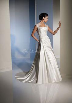 Satin Court Train Applique Cap Sleeve A-line Wedding Dress #GBE6159