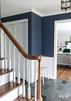 A look at my newly painted entryway. Color: Farrow and Ball Stiffkey Blue A look at my newly painted entryway. Color: Farrow and Ball Stiffkey Blue Indoor Paint Colors, Entryway Paint Colors, Hallway Colours, Farmhouse Paint Colors, Hallway Colour Schemes, Blue Paint Colors, Dark Blue Hallway, Stiffkey Blue, Flur Design