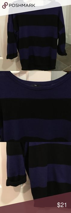 """GAP striped sweater GAP blue and black striped oversized sweater with 3/4 roll up sleeves size Xs in excellent condition. Soft sweater. Cotton and modal. 25"""" length and 22"""" chest GAP Sweaters Crew & Scoop Necks"""
