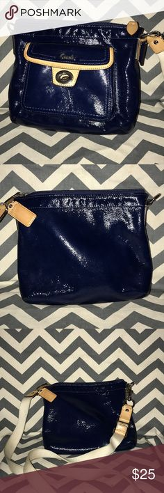 Coach Purse Patten leather navy blue the strap is fabric dirty but purse no scuffs or scratches Coach Bags Crossbody Bags