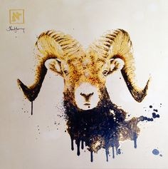 Ink and gold leaf painting of a ram