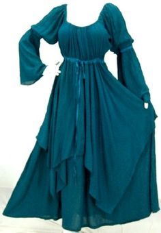 TEAL DRESS PEASANT LAYER RENAISSANCE - FITS (ONE SIZE)