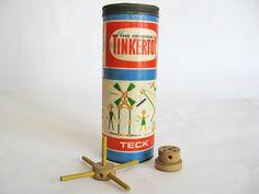 vintage toys 1950s | Vintage TINKERTOYS - 1950s Original Kids Construction Set - Kids ...