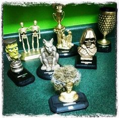 Here are the costume contest trophies I made for my party this year. Frankenstein is Funniest Costume 2 Skeletons is B Adult Halloween Party, Halloween Carnival, Halloween Goodies, Halloween Fashion, Halloween Games, Halloween Activities, Halloween Projects, Diy Halloween Decorations, Holidays Halloween