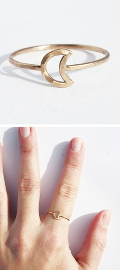 Tiny Moon Ring - I love you to the moon and back symbolism. Gift idea for my daughters :)
