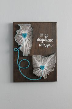 Gift idea for Betsy's wedding! Custom Double State String Art 9x12 by MadeOfTheStars on Etsy