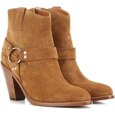 Saint Laurent Curtis 80 Harness Suede Ankle Boots (3.360 BRL) ❤ liked on Polyvore featuring shoes, boots, ankle booties, brown, suede ankle booties, suede bootie, suede ankle bootie, brown suede booties and short boots