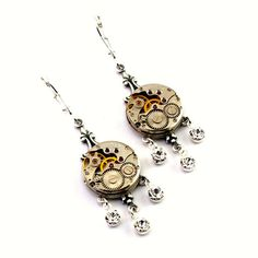 Steampunk Earrings - Vintage Watch Movements with Swarovski Crystal Dangles - Steampunk Jewelry via Etsy