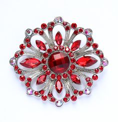 Rhinestone Red Brooch Wedding Bridal Bridesmaid Dress Sash Cake Decor Bouquet Brooches DIY Jewelry Crafts Vintage Style Red Broaches