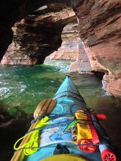 Post with 674 views. Took this picture while kayaking through the Apostle Islands sea caves last week Kayak Camping, Canoe And Kayak, Kayak Fishing, Ocean Kayak, Kayaks, Snorkeling, Kayak Adventures, Kayak Tours, Kayaking