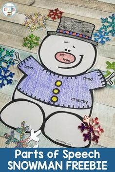 This winter snowman activity is perfect to review parts of speech!  This printable will look great lining lockers or on a bulletin board display!  Elementary students will have fun with the coloring practice and will thank-you for the worksheet alternative.  These printables are differentiated to fit your needs, simply print the skill you need - nouns, verbs, adjectives, or a combination of all three! {1st grade, 2nd grade, 3rd grade} #partsofspeech #elementaryisland #winteractivityforkids Elementary Education Activities, Parts Of Speech Activities, Adjectives Activities, Nouns And Adjectives, Snow Activities, Hands On Activities, Elementary Teacher, Elementary Bulletin Boards, Christmas Bulletin Boards