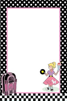 free 50 s grease theme invitation with instructions to personalize  free printables i love Retro Border Clip Art Black and White Border Clip Art