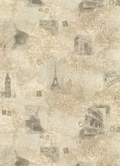 York Wallcoverings EU4693 Photo Collage Wallpaper Ecru / Tan / Taupe / Cocoa Home Decor Wallpaper Wallpaper