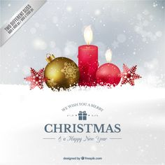 Fondo realista de bola de navidad y velas Vector Gratis