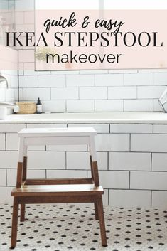 Easy IKEA hack! How to turn this BEKVAM stool into a gorgeous, farmhouse inspired stool for your kitchen, bathroom, or anywhere in the house! Great for kids, and it's gorgeous too! Bekvam Stool, Ikea Bekvam, Ikea Step Stool, Kids Stool, Ikea Chair, Diy Chair, Ikea Hacks, Upholstered Swivel Chairs, Chair Cushions