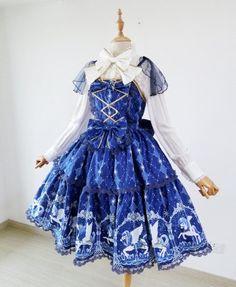 Midnight carousel Lolita jsk jumper skirt dress by ShyLolita on Etsy https://www.etsy.com/listing/221493102/midnight-carousel-lolita-jsk-jumper