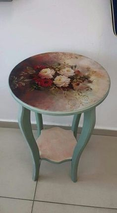 Decoupaged table. Turquoise, aged roses on table top. DIY,
