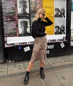Leopard Print Skirt Outfit + Street Style Looks to Copy + Combat Boots + Fall Outfits + European Style Mode Outfits, Fall Outfits, Casual Outfits, Fashion Outfits, Womens Fashion, Fashion Ideas, Skirt Fashion, Fashion Boots, Summer City Outfits