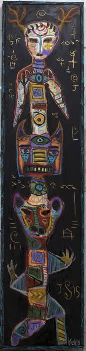 Deer Totem ...Folk Art, Neo-Outsider Art, Flea Market Artist Kelly Moore