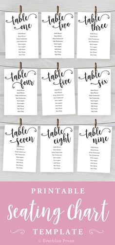 Our Printable Seating Chart Template allows you to add your guest names, print & trim from home! It is an easy way to make a hanging find your seat table assignment display! Wedding decor by Everblue Press
