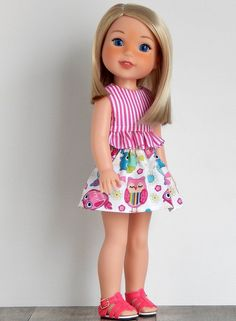 inch Doll Clothes-Striped Ruffle Top fits like Wellie Wishers Doll, Doll Clothes 14 inch, Wellie Wisher Doll, Doll Clothes American Girl Outfits, Doll Clothes Barbie, Doll Clothes Patterns, Doll Patterns, American Girl Wellie Wishers, Kids Outfits, Cute Outfits, Wellie Wishers Dolls, Ruffle Top