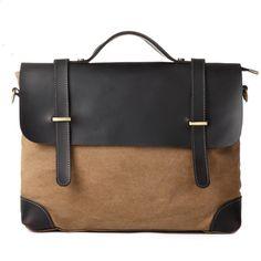 Superior Genuine cross -body bag Cow Leather canvas bag / Briefcase / Messenger bag /leather 14' 15' MacBook Laptop bag / Men's leather satc...