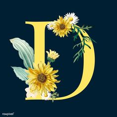 Yellow letter D decorated with hand drawn sunflower and white mums vector | free image by rawpixel.com / sasi Flower Alphabet, Flower Letters, Flower Frame, Vintage Floral Backgrounds, Flower Backgrounds, Floral Font, Art Nouveau Poster, Art Painting Gallery, Flower Doodles