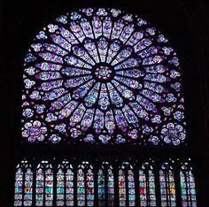 Stained glass at Notre Dame Cathedral, Paris, France