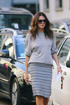 pencil skirt and sweatshirt