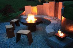 Feuerstelle, Garten, Feuerschale, Hocker, Stein