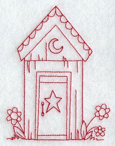 Country Outhouse (Redwork)