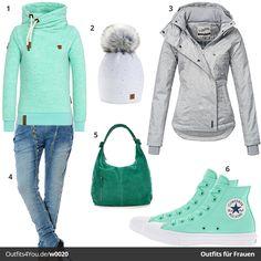 Sportlicher Look in Grün-Türkis und Weiß #frauenmode #fashion #style #mode #damenmode #inspiration #fashion #womenswear