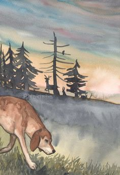 Original Art - JUstice - Watercolor Hound Dog Painting -The Badgers Forest Tarot