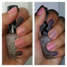 Dusty rose and gray polish. I used Mac Snob for the rose, Metro Chic from Sephora by OPI, Essie Shine of Times for the glitter, and OPI matte top coat. Gray Polish, Nail Polish, Opi, Essie, Mac Snob, Matte Top Coats, Matte Nails, Dusty Rose, Sephora