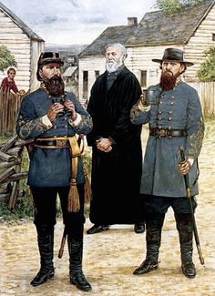 Confederate Generals James Longstreet, Reverend William Pendleton and Nathan Evans.