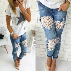 Women Lady Destroyed Ripped Jeans Distressed Hole Denim Flower Pants Boyfriend Jeans Trousers New
