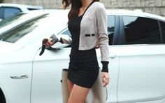 structured cardi and little black dress