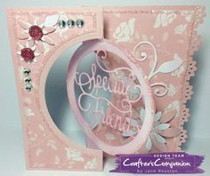 Kinetic Card made using Crafter's Companion Die'sire Create a Card Circle Centre die – Designed by Jane Royston. Flip Cards, Folded Cards, Swing Card, Crafters Companion Cards, Shaped Cards, Card Tutorials, Cool Cards, Making Ideas, Cardmaking