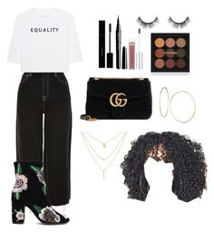 """Equality"" by demeryjaguar on Polyvore featuring Topshop, Soufiane Ahaddach, Rebecca Minkoff, Velour Lashes, Gucci and GUESS"