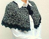 black and white crochet shrug