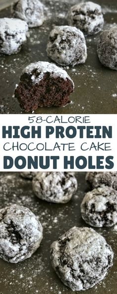 You'll never eat regular donut holes again after you try these chocolate cake protein donut holes with 5.5 grams of protein and only 58 calories per donut hole. They're the perfect fix for a sweet tooth or chocolate craving. via @masonfitdotcom