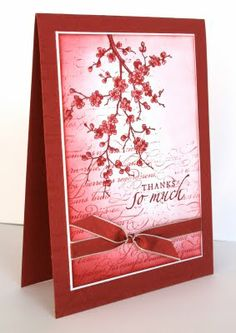 handmade thank you card form Shelley's Stamping Ground ... monochromatic red ... collage style stamping on main layer ... sponging .... French Script background ... cherry blossom branches ... lovely ... Stampin'Up!